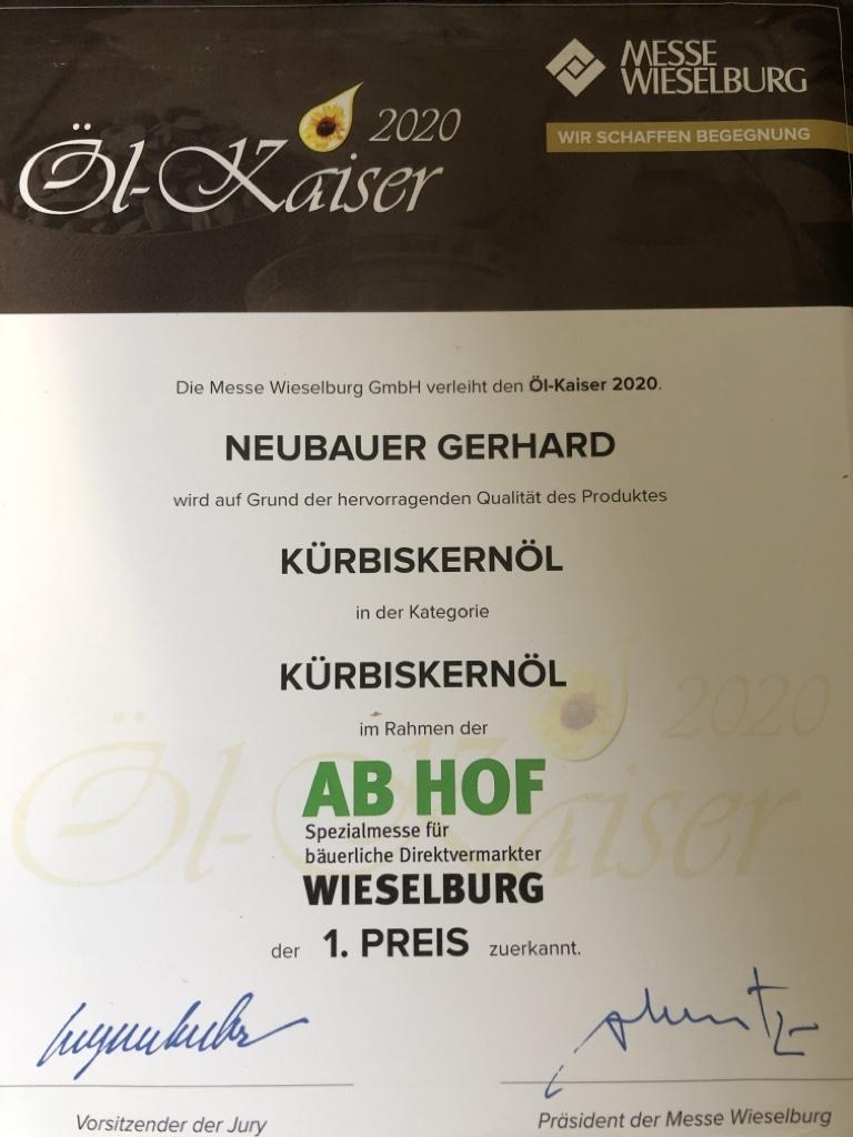 Öl Kaiser, Auszeichnung, 1 Platz, Testsieger,1 Preis, Reines Kürbiskernöl